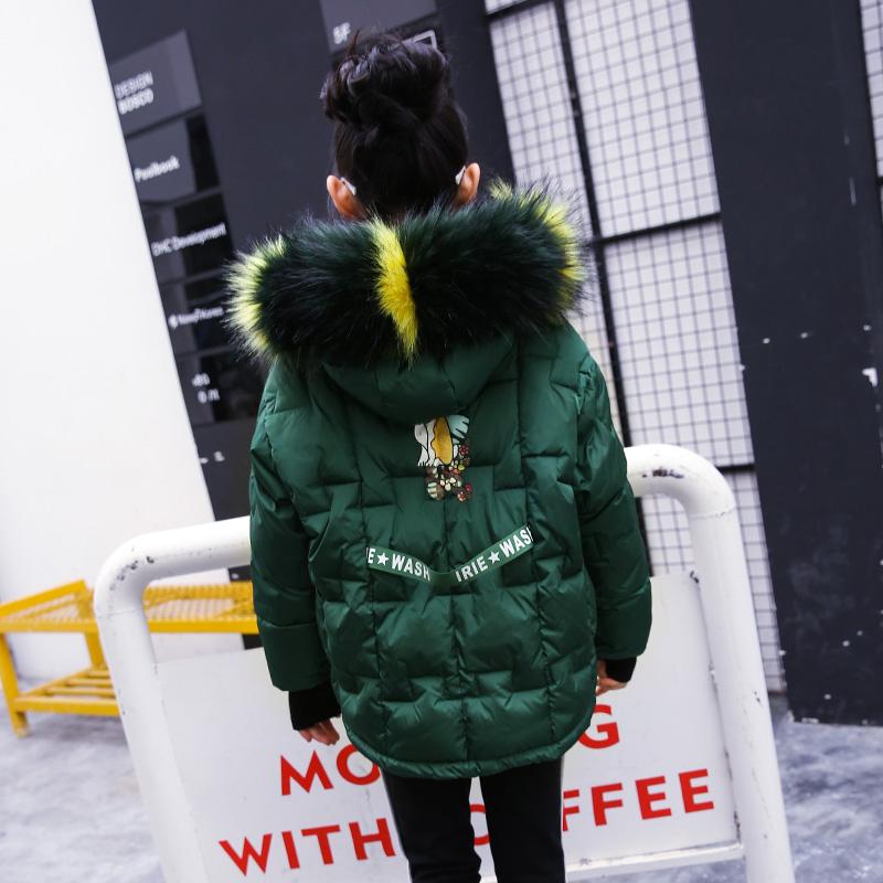雨星雨嫣【20904M】2017冬季女童彩色大毛领时尚原宿短款棉衣