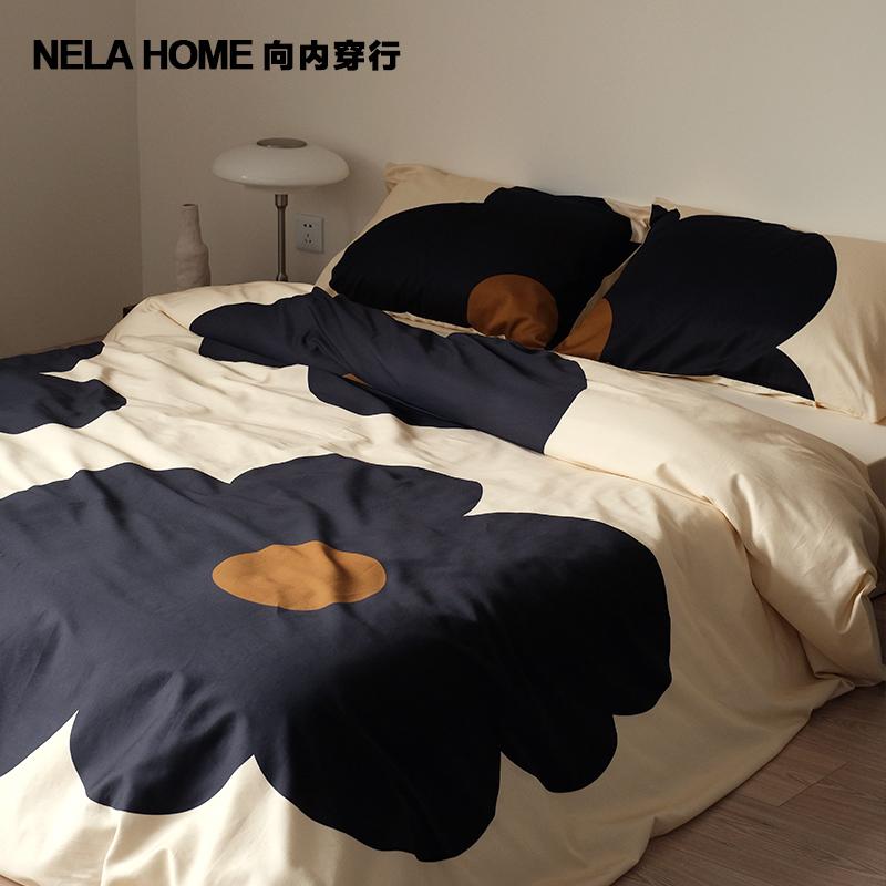 設計師款法式太陽花長絨棉純棉床品床單被套床上四件套 HOME NELA
