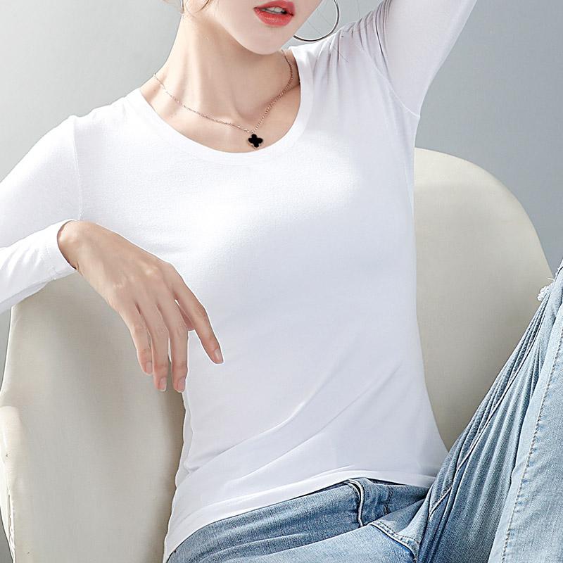 加绒打底衫女士2019新款长袖t恤加厚紧身上衣服秋冬洋气保暖内搭