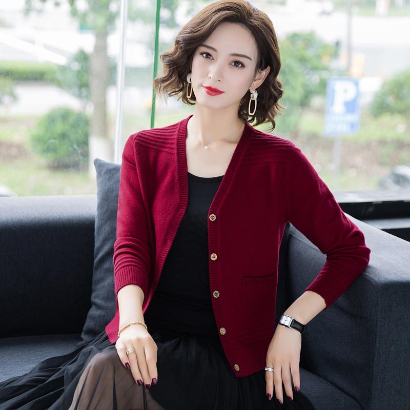 100%纯山羊绒衫女开衫2021春秋新款正品牌高档外套短款针织毛衣主图