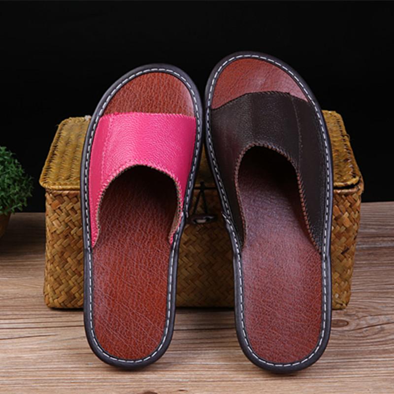 海宁真皮拖鞋夏季居家居男女防滑实心底地板拖鞋室内情侣凉拖鞋