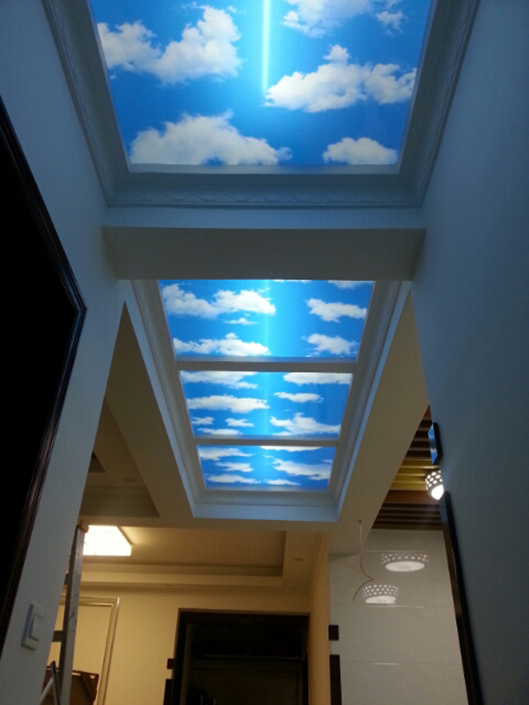 天花艺术玻璃冰晶画蓝天白云过道吊顶装饰用通道专用江西萍乡定做