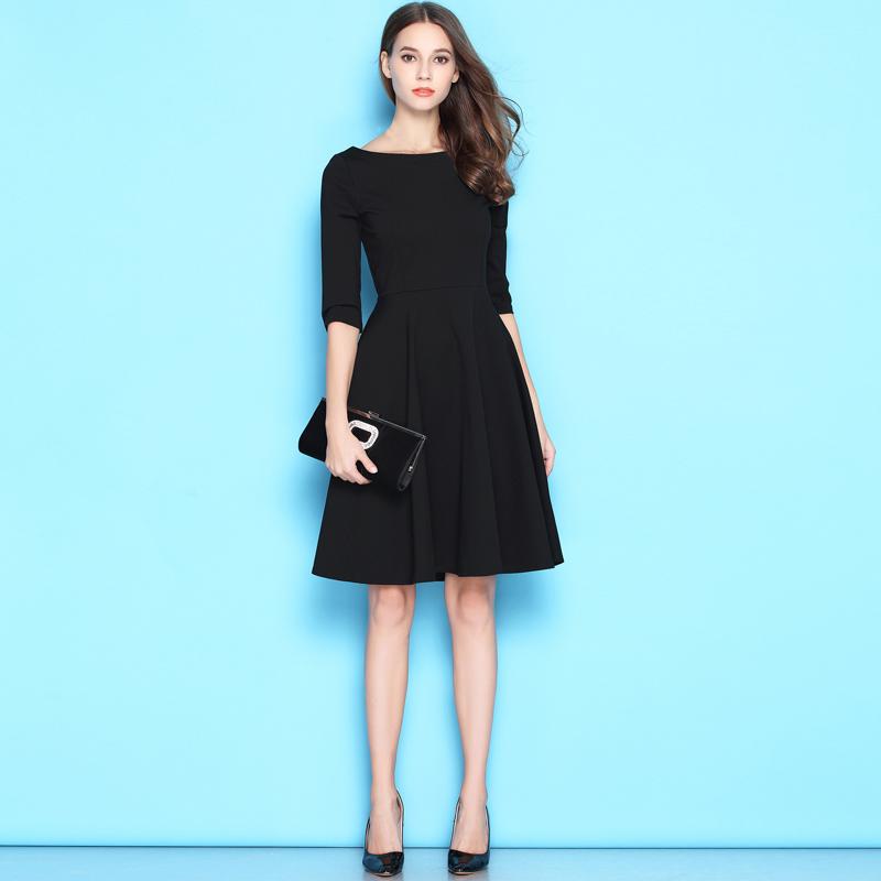 极简修身中长赫本小黑裙冷淡风连衣裙女夏高腰红裙子2018显瘦黑色