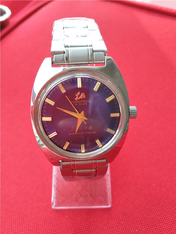 国产腕表库存全新彩盘东风紫盘绿盘鲍鱼款男款手动机械手表老表