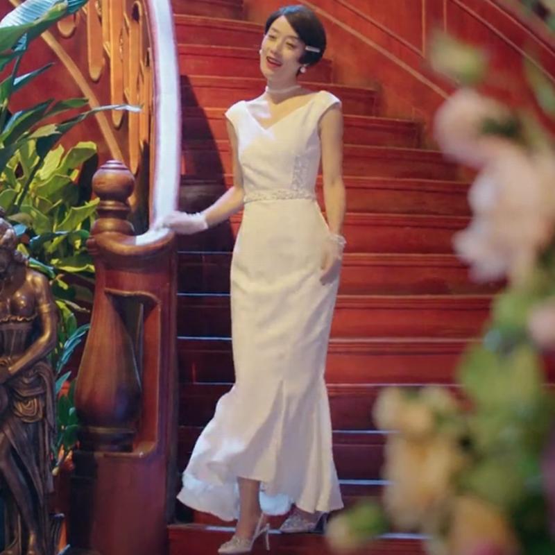 旗袍美探苏雯丽马伊琍同款夏季新V领修身中长荷叶边连衣裙礼服女