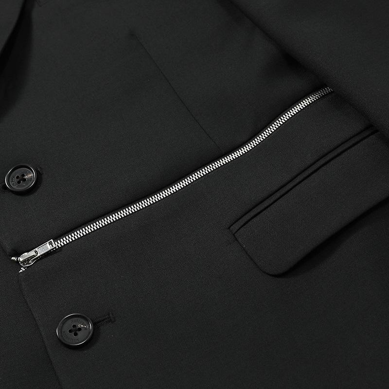 香港设计师品牌MUSLUN左下摆个性拉链精纺羊毛西装休闲西服上衣潮