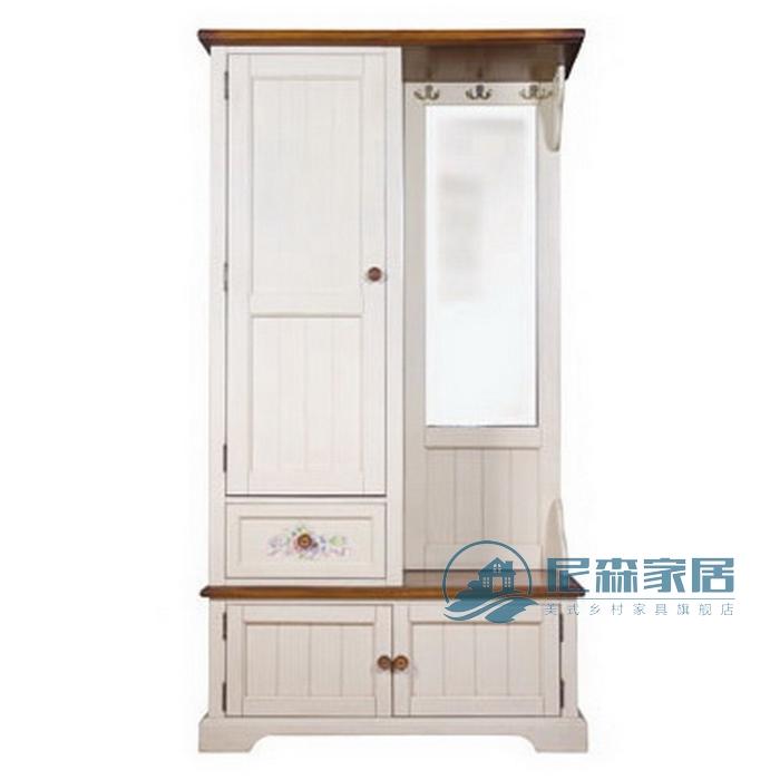 简约美式乡村田园地中海实木家具门厅柜衣帽柜鞋柜带镜子可订制