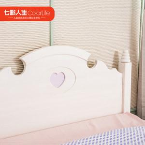 七彩人生白色儿童床公主床儿童家具实木单双人床1.5米卡乐屋系列