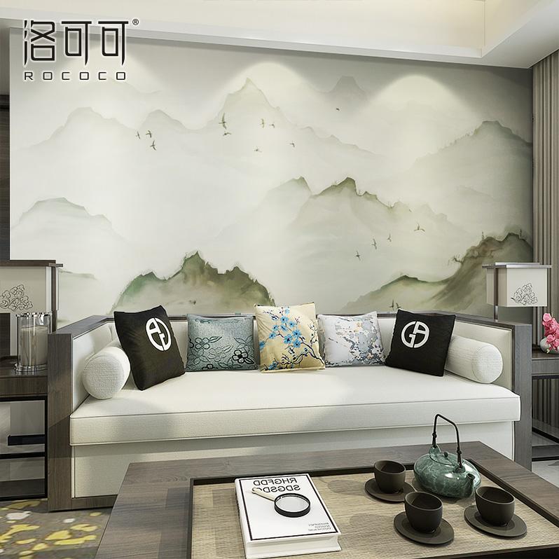 新中式背景墙壁纸壁画客厅影视墙中国风禅意古典山水墨墙布