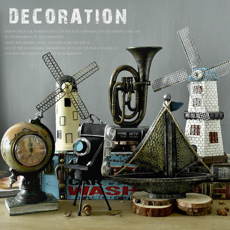 歐式復古荷蘭風車摩天輪工藝擺件酒吧咖啡客廳店鋪裝飾品創意擺設