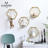 Modern minimalist Nordic wind wall creative combination wall hanging living room bedroom bookshelf hexagonal geometric frame