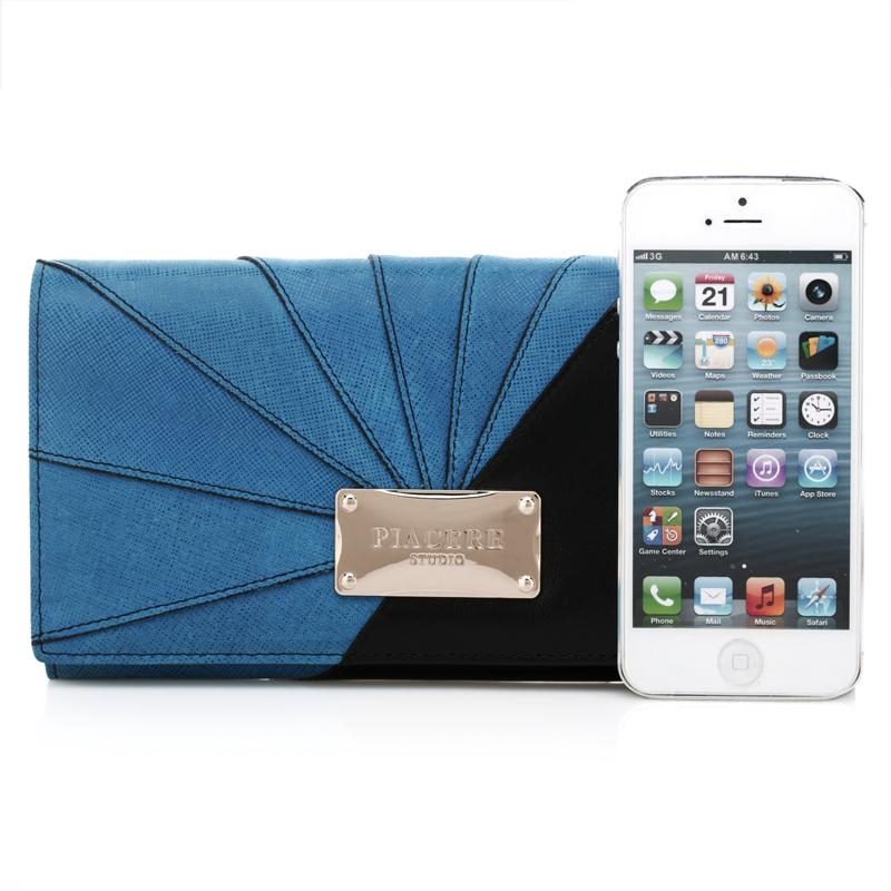 Piacere新款进口头层牛皮女士长款撞色钱包多卡位拼接真皮手拿包