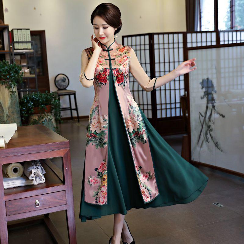 优雅大码旗袍改良祺袍女中袖长袖中长款两件套正宗越南奥黛裙中国