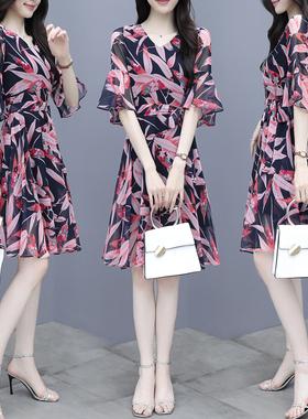 连衣裙夏季新款女装2021复古修身显瘦气质时尚中长碎花雪纺裙子仙