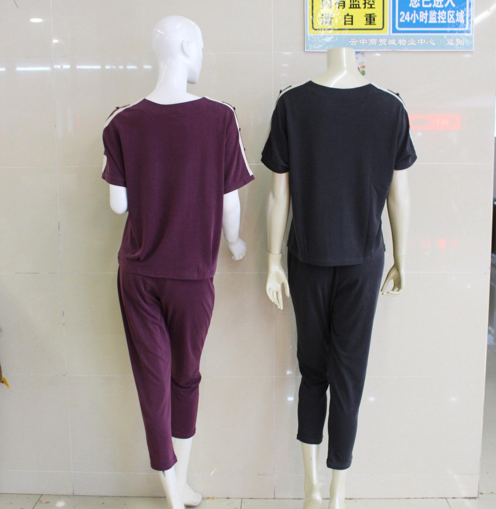 中老年休闲账动套装女妈妈春夏时尚短袖母亲节两件套 恤 t 金迪雪 058