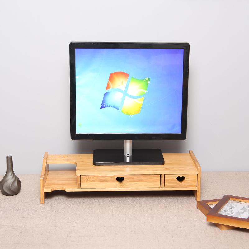 楠竹台式垫电脑显示器增高架子底座托架支架办公室桌面收纳置物架