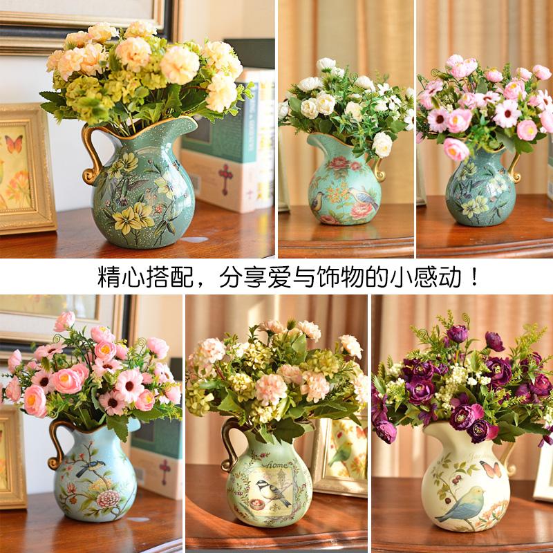 墨菲欧式田园陶瓷小花瓶美式客厅装饰摆件仿真花艺套装干花插花器