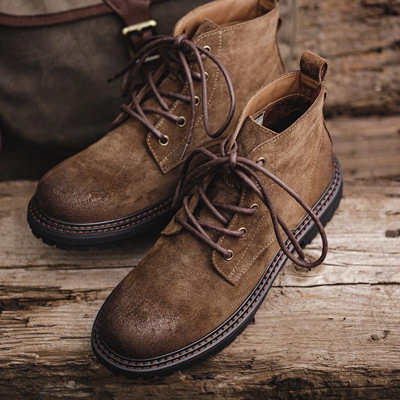 男鞋 秋季工装靴中帮沙漠靴高帮英伦马丁靴休闲潮男真皮短靴子  2020