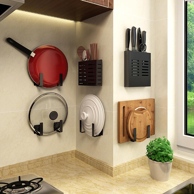 北欧免打孔厨房置物架套餐家用黑色碗架碟架刃架厨具用品收纳神器