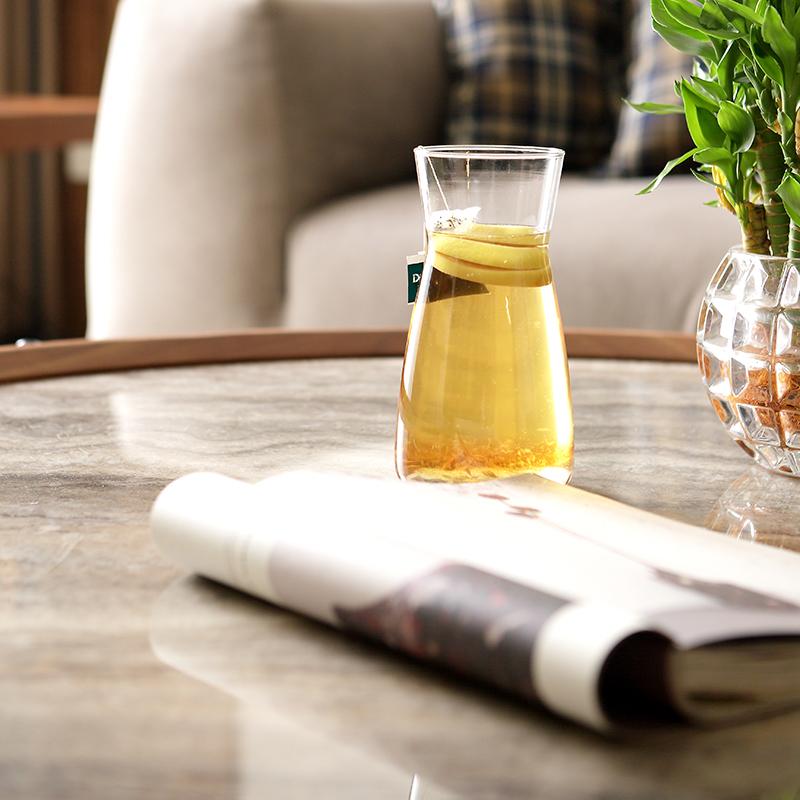 如恩设计师天然大理石圆形茶几北欧客厅现代简约工业风格实木茶几