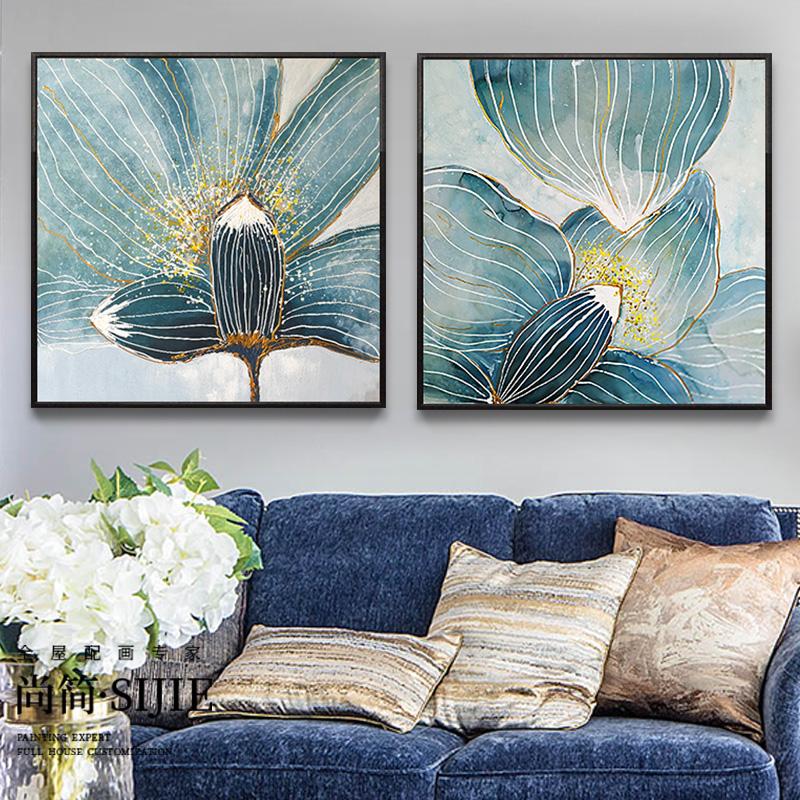 手绘油画现代简约客厅墙抽象餐厅玄关装饰画走廊壁画过道挂画花卉