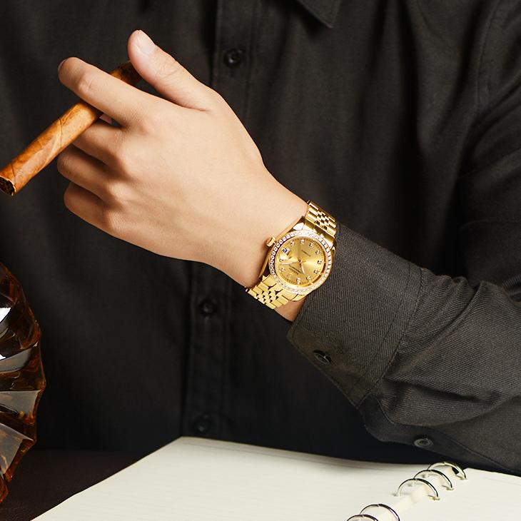 金色金表全自动机械表男表透底防水手表 18K 男士 正品名牌手表