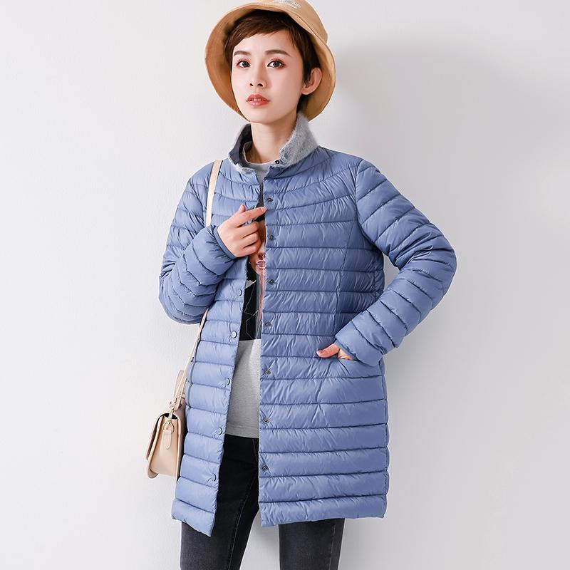 轻薄羽绒服女中长款薄款2019冬装新款时尚爆款宽松韩版秋冬外套潮