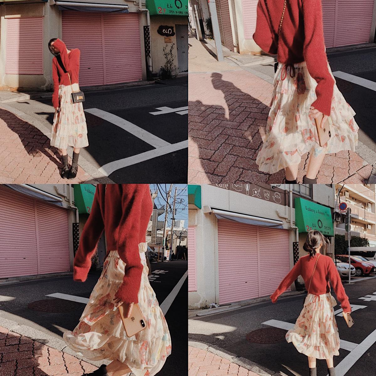 大喜自制2019春季新款女复古印花荷叶边蛋糕裙显瘦仙女裙连衣裙