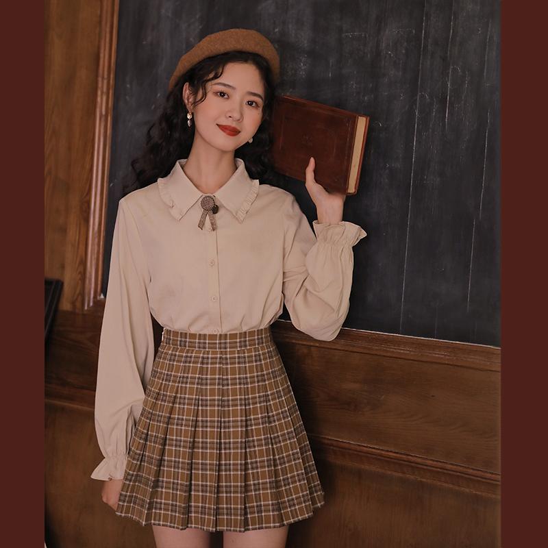 linjou玲玖衬衫女娃娃领2021新款秋季修身百搭气质长袖甜美上衣