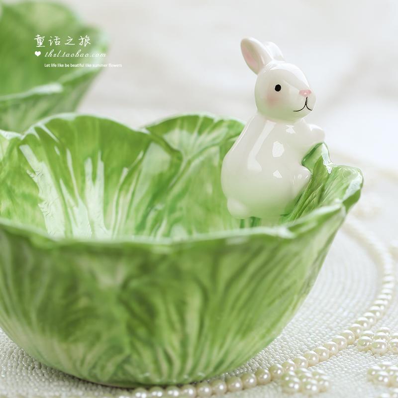 卡通動物陶瓷創意收納可愛萌物手繪小白兔果盤沙拉碗 白菜兔子碗