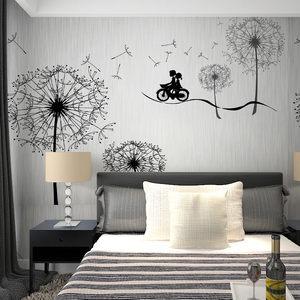 梵谷大型壁画3d 卧室蒲公英墙纸 防水电视背景墙壁纸无缝壁画8006