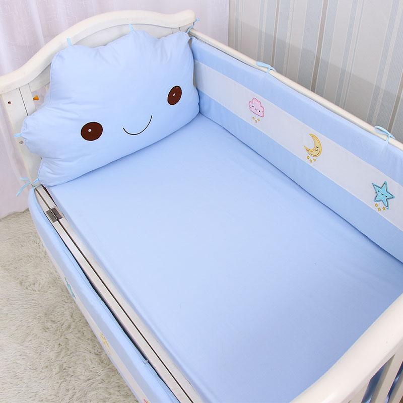 婴儿床床围云朵床头靠垫全棉宝宝防撞围栏四季通用可拆洗四面透气