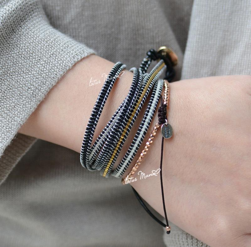 纯银极细微小单圈银珠手链  小众设计编织绳手串搭配 ins 路塔斯曼 925