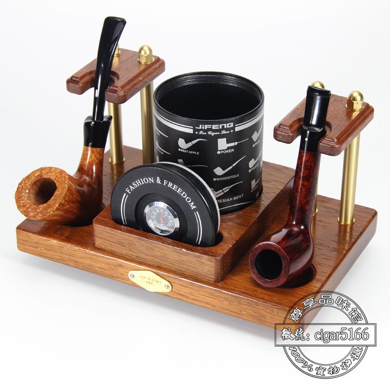 包邮 季风JiFENG烟斗架 光面实木金属单位多位烟斗座 烟斗展示架