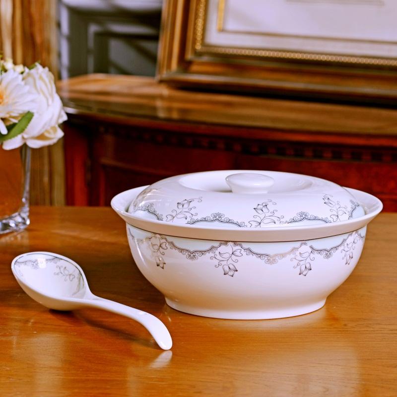 景德镇带盖圆形陶瓷汤盆品锅汤锅碗碟套装 创意大号家用大碗汤碗