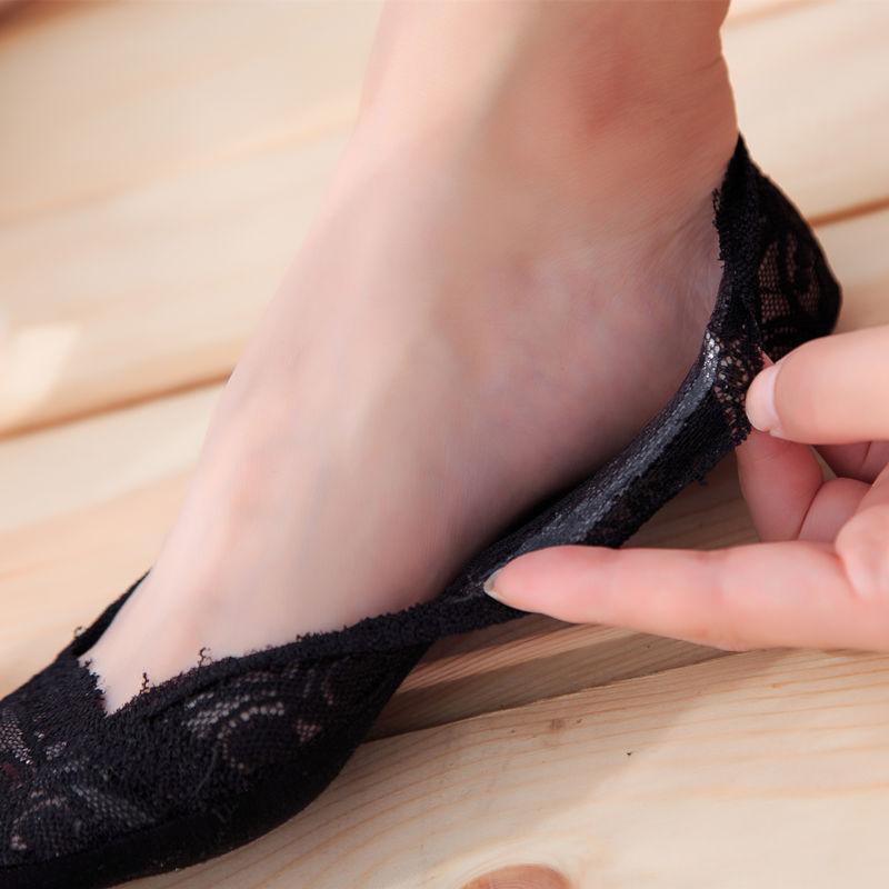 蕾丝袜子船袜女纯棉夏季薄款浅口韩国可爱隐形袜硅胶防滑短袜低帮