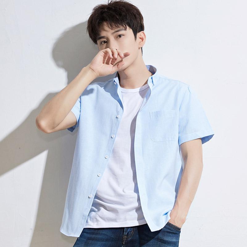 意宾短袖衬衫男夏季修身纯色青年半袖牛津纺白衬衣男士潮流韩版
