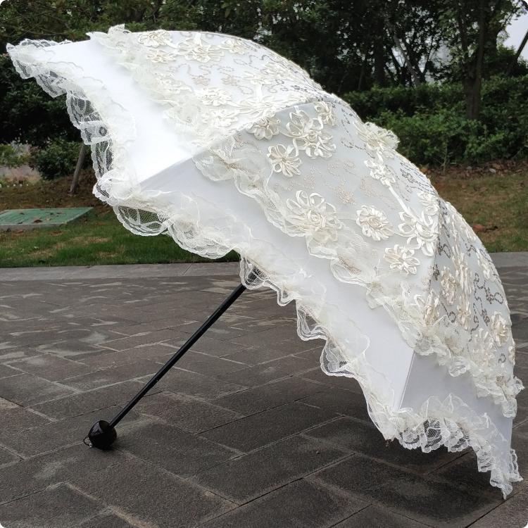 韓版三摺疊黑膠米白色蕾絲刺繡花亮片防晒遮陽太陽傘公主傘晴雨傘
