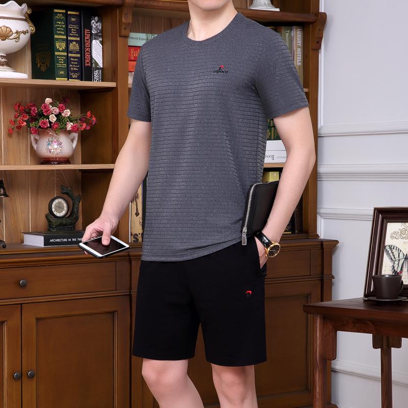 爸爸夏裝套裝時尚中年男士冰絲短袖t恤中老年休閒運動服套裝夏季