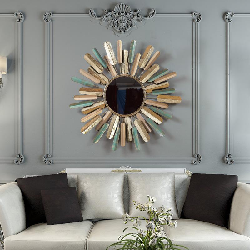 美式创意墙壁装饰镜子客厅墙面挂件卧室铁艺复古墙上壁挂饰太阳花