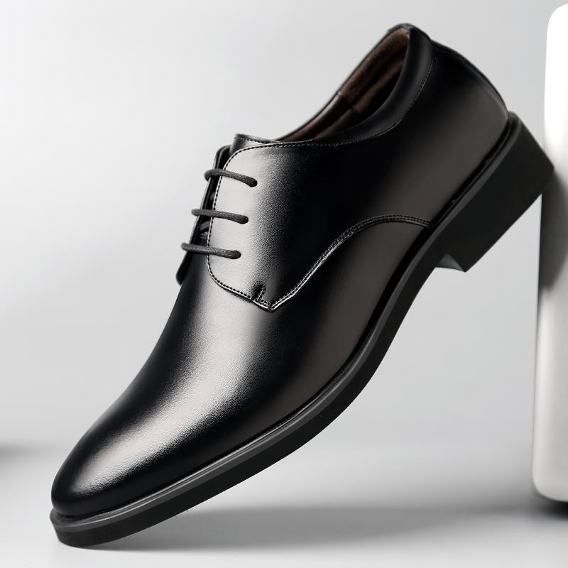 皮鞋男秋季男士商务正装皮鞋英伦系带休闲鞋黑色透气软面皮男鞋子高清大图