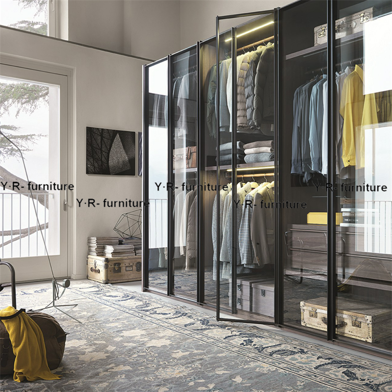 灰玻钢化玻璃卧室整体移门衣柜简约缓冲平六开门衣柜衣帽间衣橱