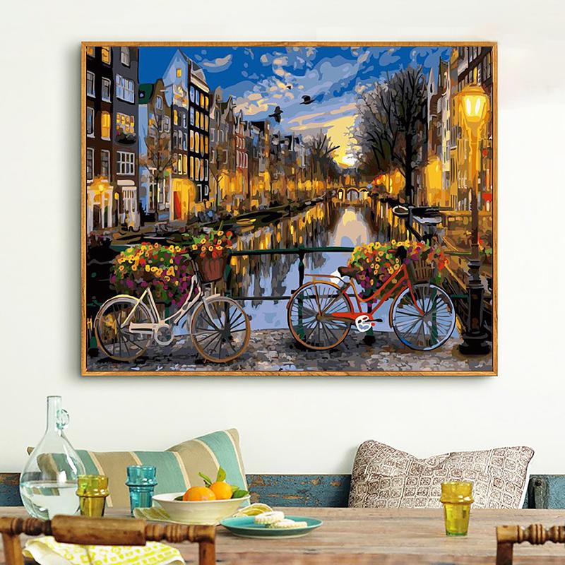 巴黎威尼斯风景画 油画手绘填色城市夜景卧室装饰画 diy 数字油彩画