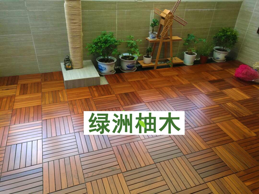 缅甸柚木阳台地板 柚木实木户外防滑地板 室外庭院花园露台地板