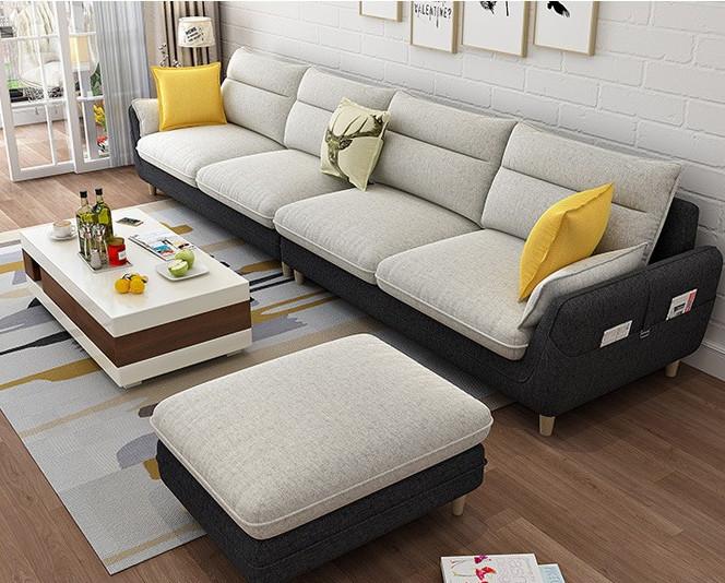 C 北欧简约布艺沙发组合客厅现代可拆洗乳胶羽绒沙发大小户型定制