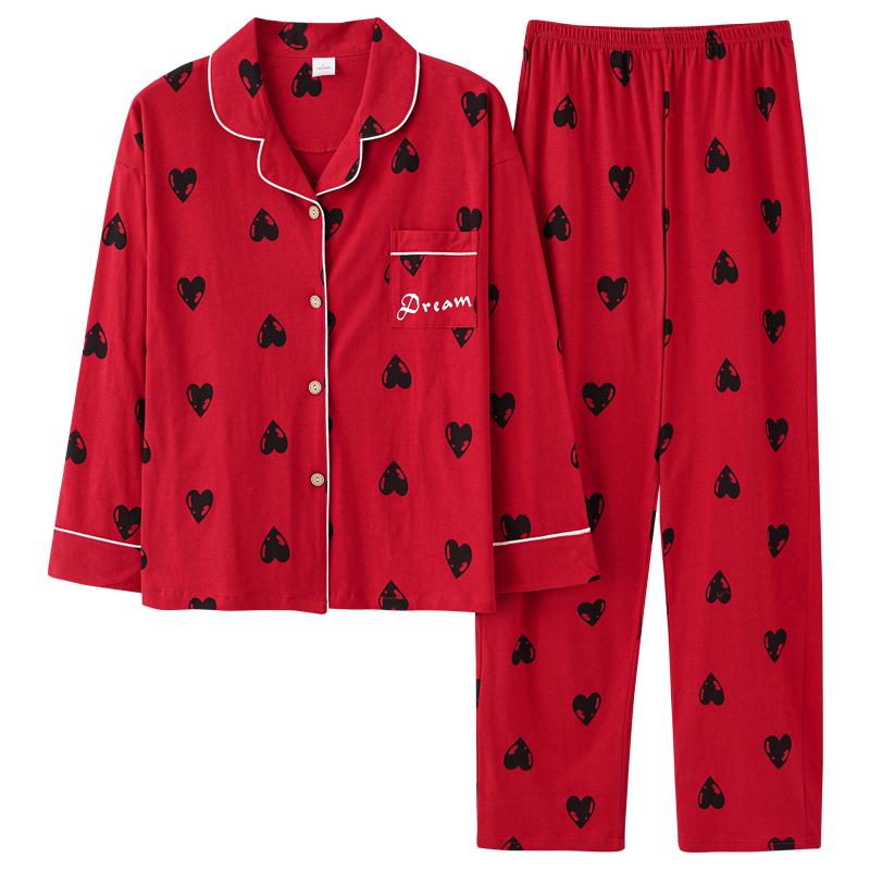 南极人2021年新款红色睡衣女春秋款纯棉长袖本命年结婚全棉家居服