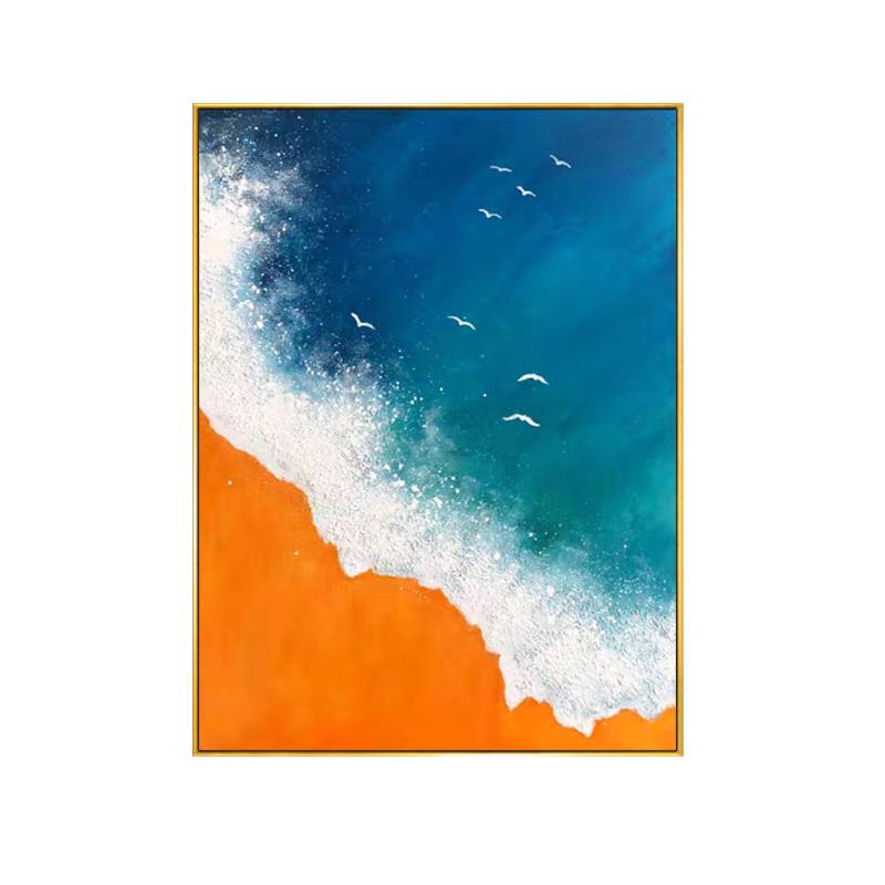 大海沙灘手繪油畫玄關客廳走道進門掛畫中美式風格裝飾畫豎版帶框