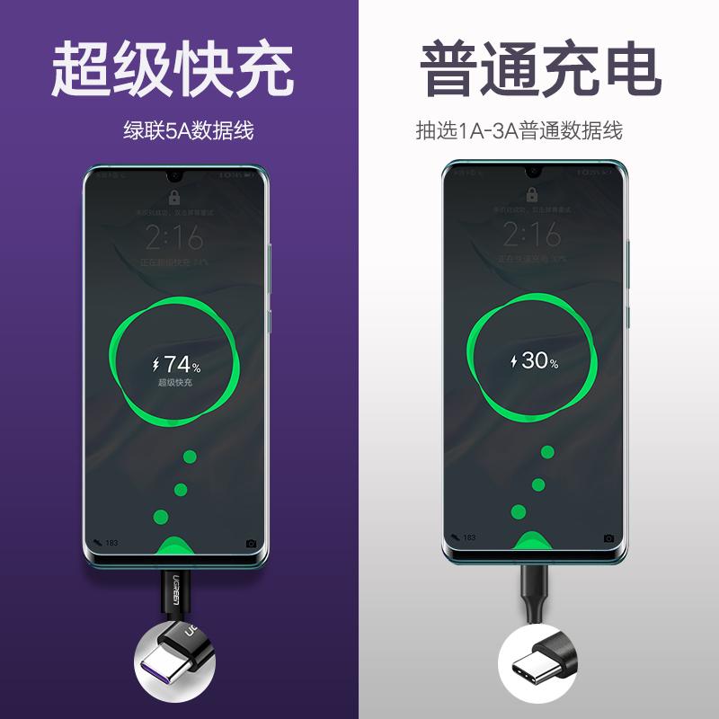 绿联type-c数据线5a超级快充安卓充电线弯头tpc-c加长充电器宝短通用华为nova4p20p30pro荣耀v10mate20/9手机