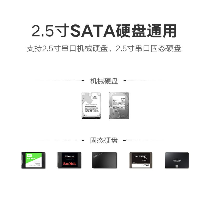 移动硬盘外壳 usb3.0 机械外置外接 SSD 台式机固态 SATA 英寸 2.5 绿联笔记本硬盘盒子读取