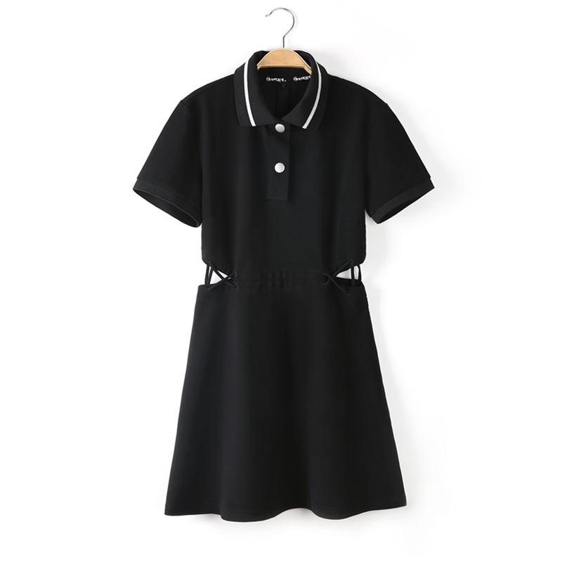 2020夏季皇冠太平鸟POLO领连衣裙针织露腰修身连身裙A3FA8220789